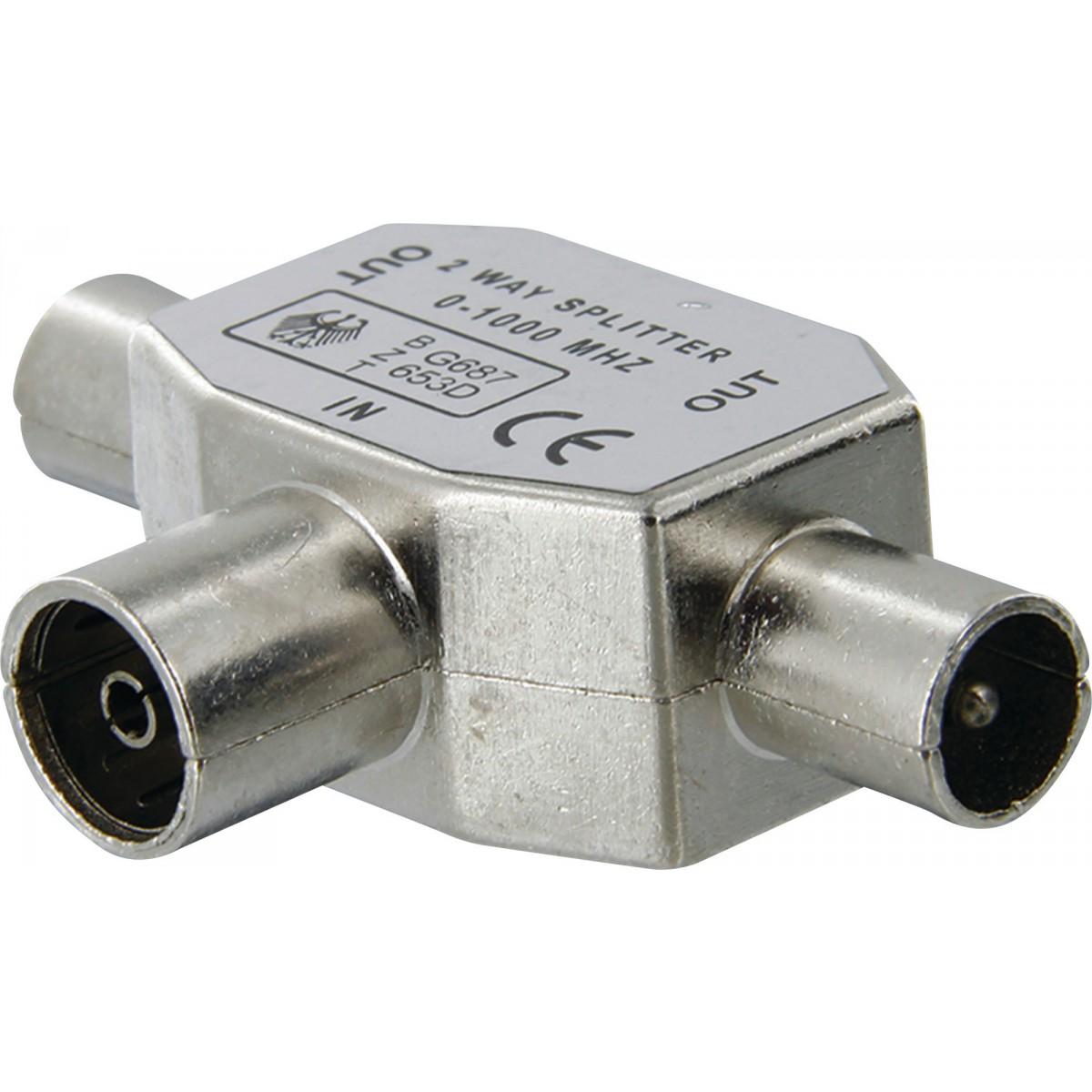 Repartiteur TV blindé diamètre 9,52 mm Dhome - 2 mâles / 1 femelle - Diamètre 9,52 mm
