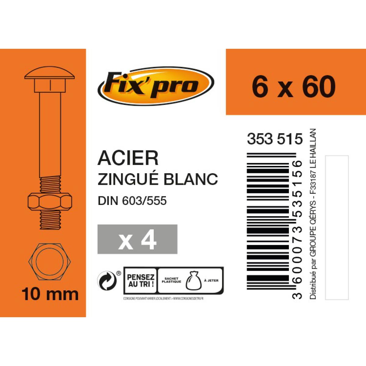 Boulon Japy tête ronde collet carré acier zingué - 6x60/18 - 4pces - Fixpro
