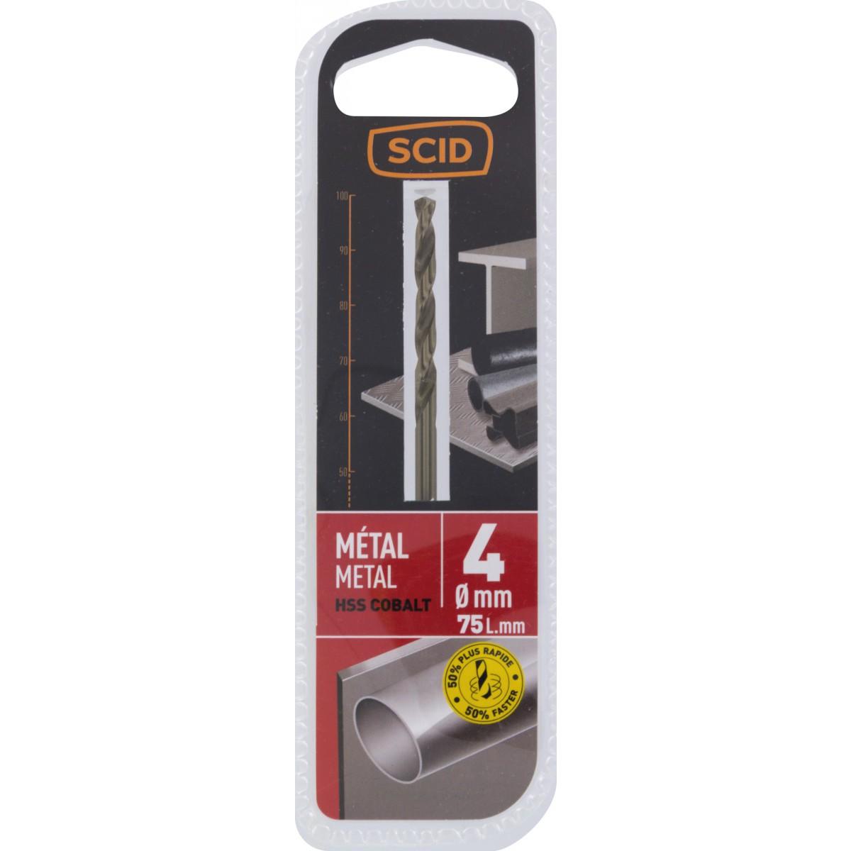 Foret métal HSS cobalt SCID - Longueur 75 mm - Diamètre 4 mm