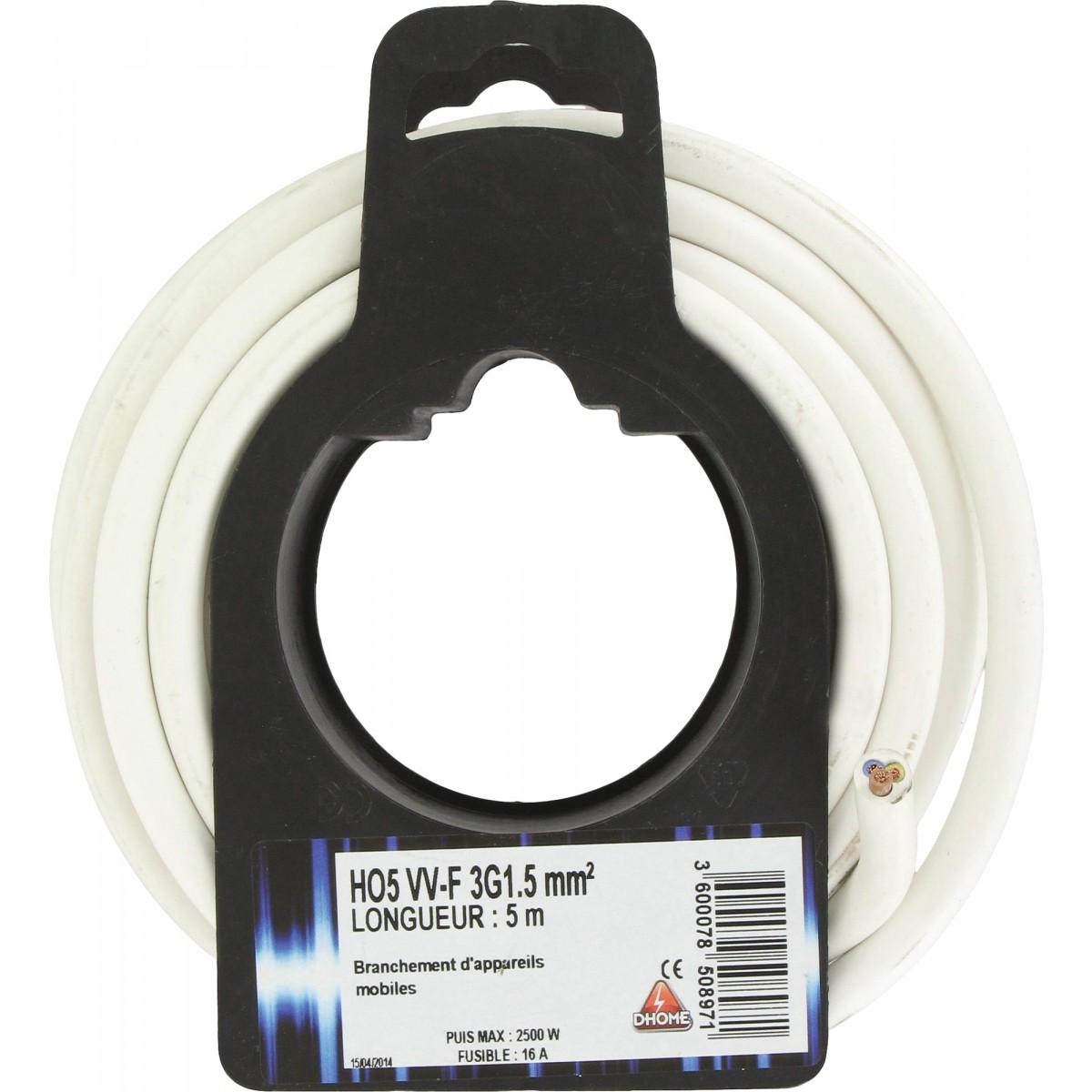 Câble H05 VV-F 3G 1,5 mm² Dhome - Blanc - Longueur 5 m