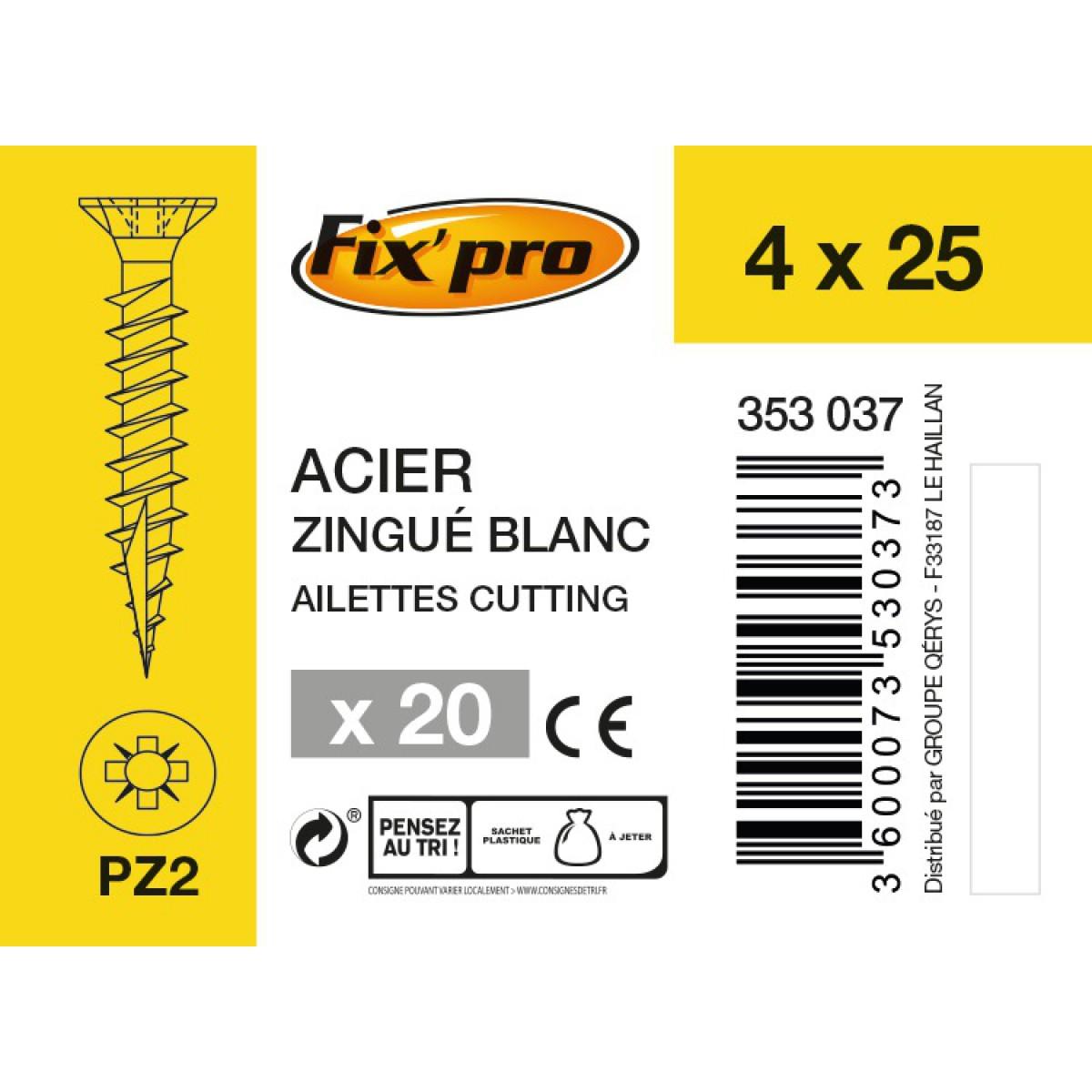 Vis à bois tête fraisée PZ - 4x25 - 20pces - Fixpro
