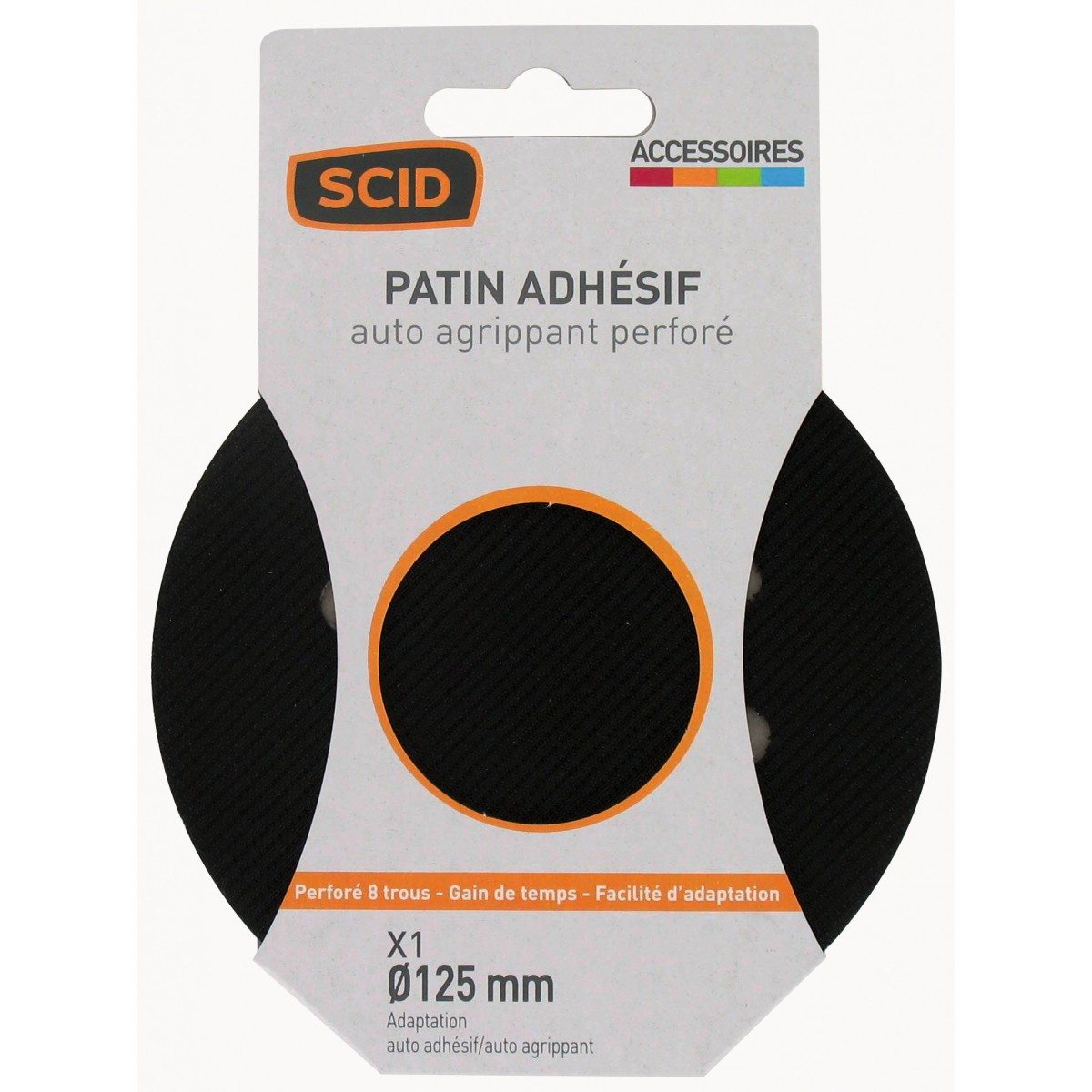 Patin auto-agrippant / adhésif SCID - 8 trous - Diamètre 125 mm