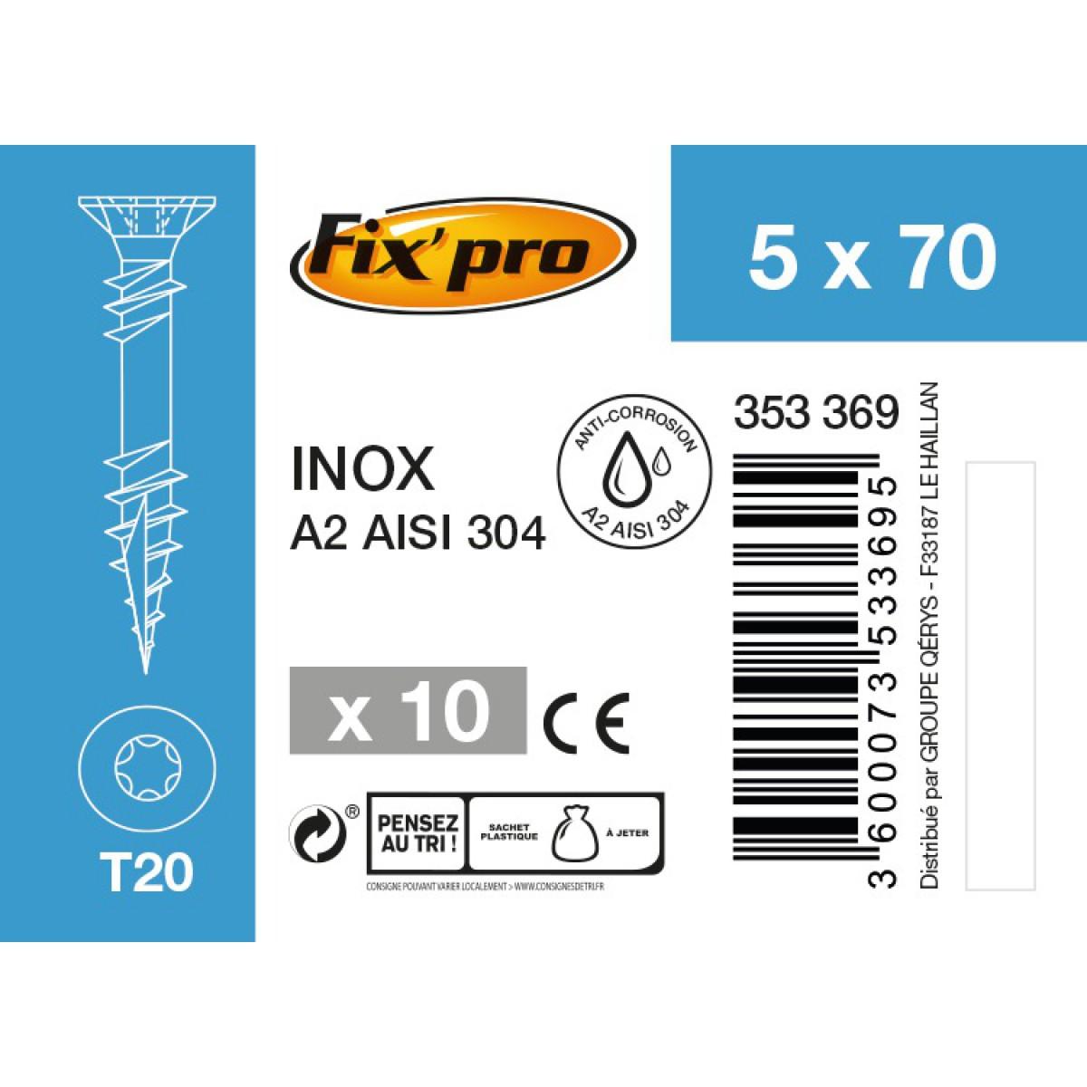 Vis terrasse inox A2 - 5x70 - 10pces - Fixpro