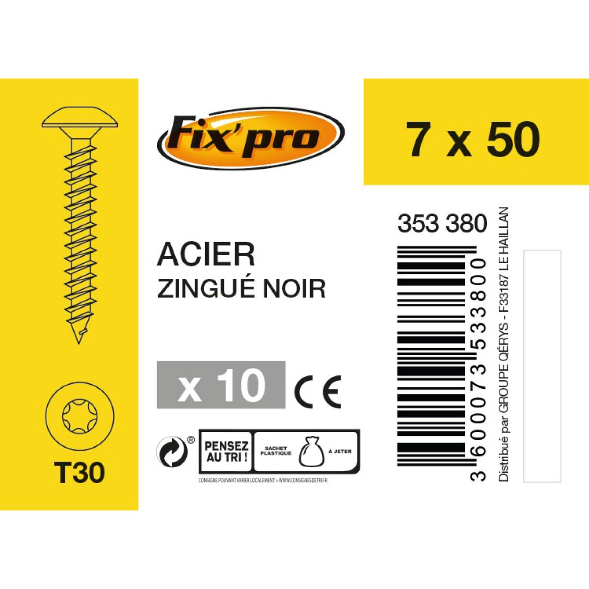 Vis spéciale penture tête étoilée acier zingué noire - 7x50 - 10 pces - FixPro