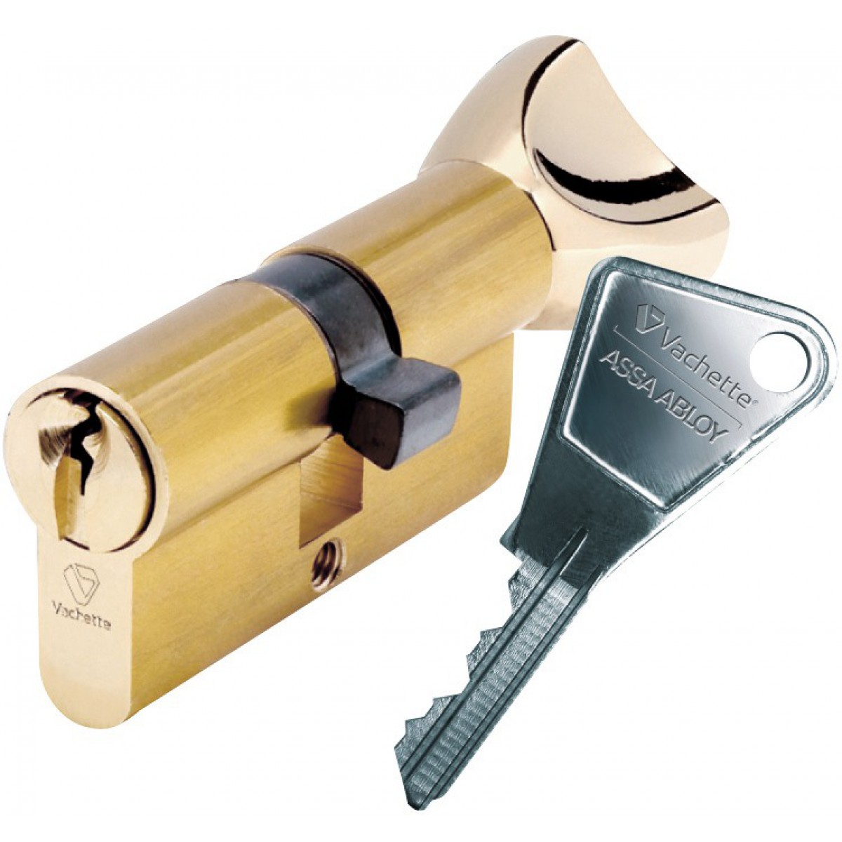 Cylindre de sureté à bouton V5 Vachette - Dimensions 30 x 30 mm - Laiton poli
