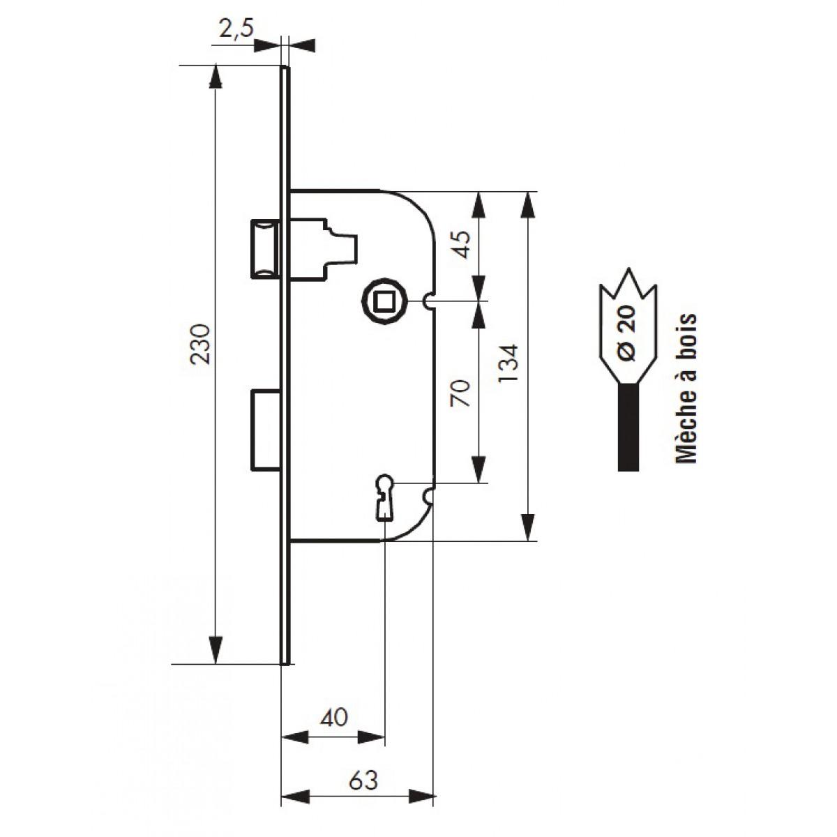 Serrure à larder réversible pêne 1/2 tour 1 clé PVM - Réversible - Bouts ronds - Entraxe 70 mm - l x h x p - 20 x 230 x 63 mm
