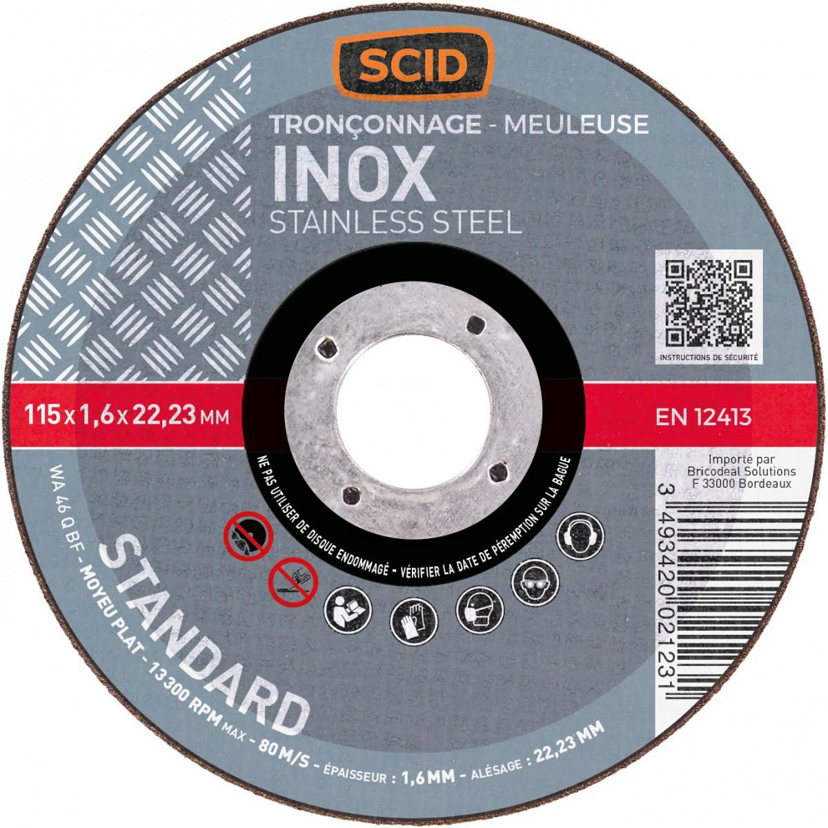 disque tron onner l 39 inox scid moyeu plat diam tre 115 mm al sage 22 2 mm. Black Bedroom Furniture Sets. Home Design Ideas