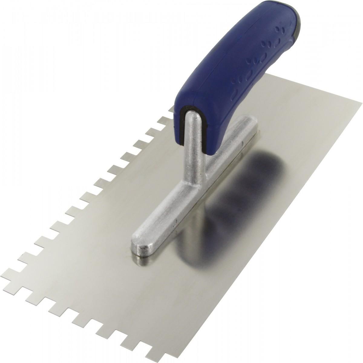 Platoir lame acier inoxydable dentée sur deux cotés Outibat - Denture de 8 x 8 - Dimensions 280 x 120 mm