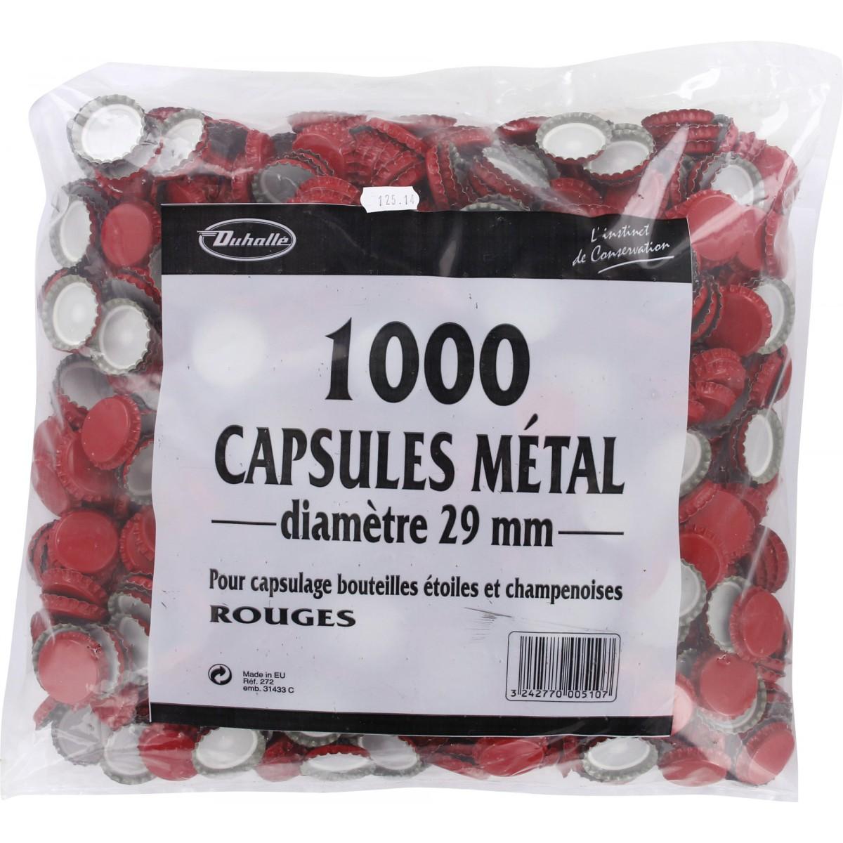 Capsule bouteille champenoise Duhallé - Rouge sans operule - Diamètre 29 mm - Vendu par 1000