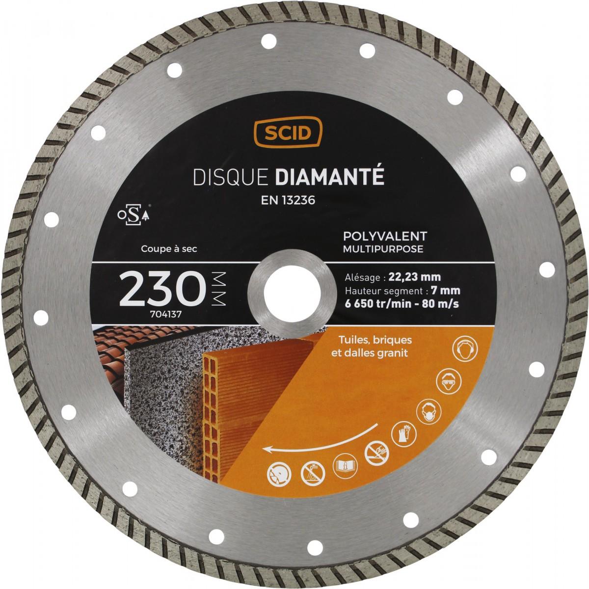 Disque diamanté polyvalent crénelé SCID - Diamètre 230 mm