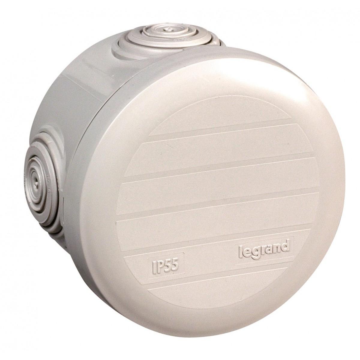 Boîte de dérivation Plexo ronde - Diamètre 70 mm Legrand - 4 entrées - Gris