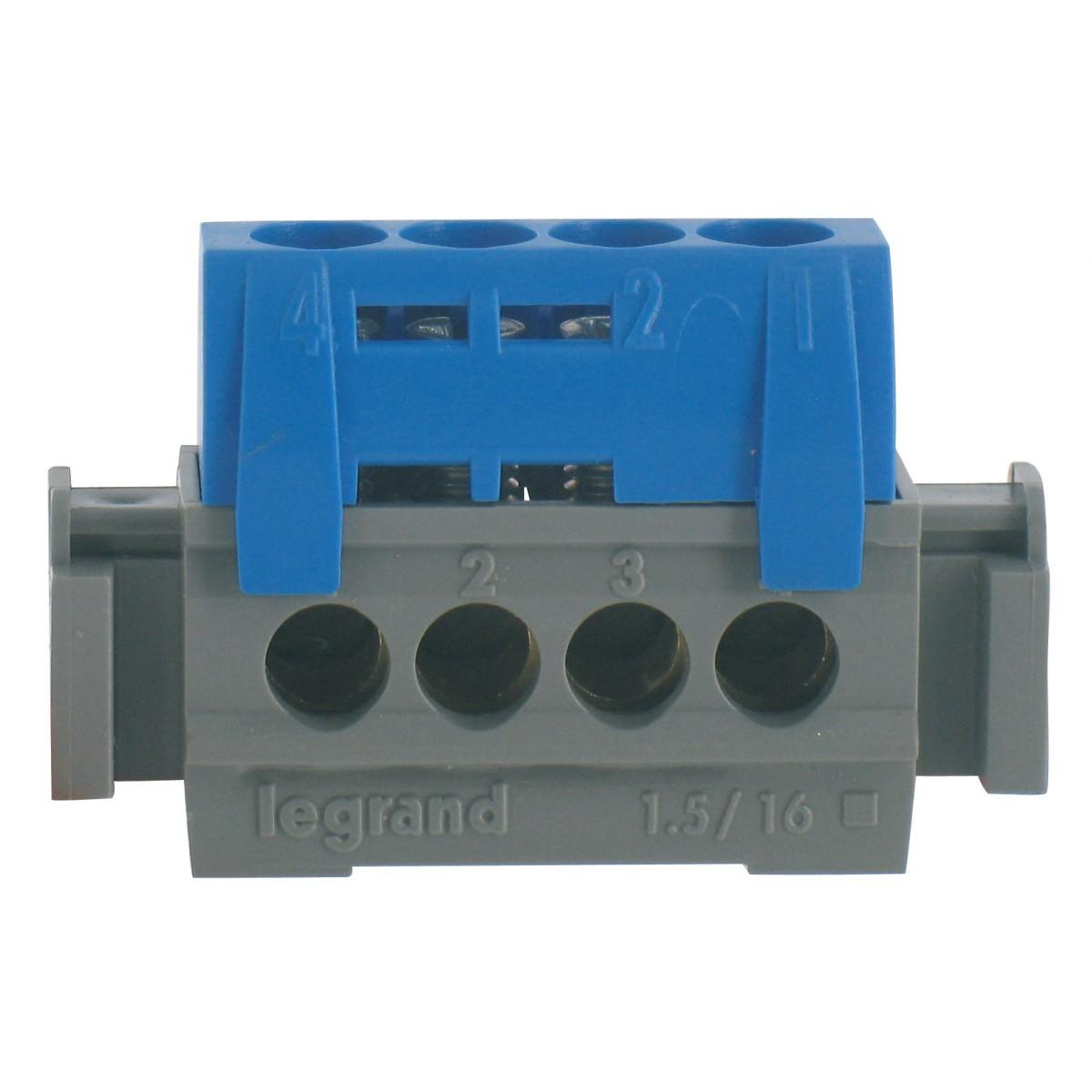 Bornier 1 fonction Legrand - 4 trous - Bleu