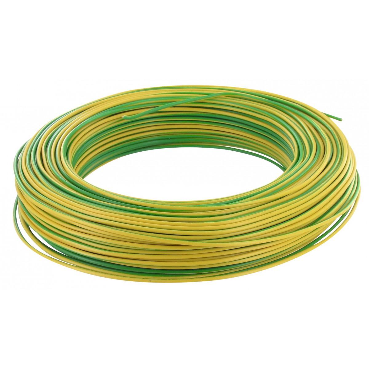 Fil H07 V-U 1,5 mm² - Couronne 100 m - Vert / jaune