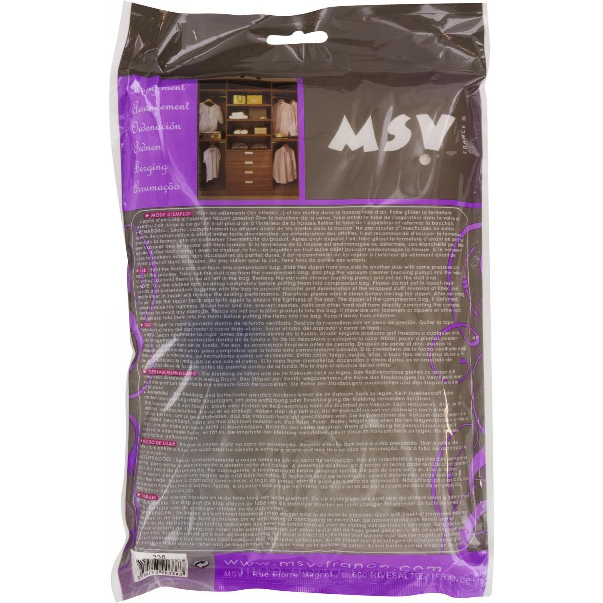 Housse gain de place MSV - A ranger - Longueur 100 cm - Largeur 110 cm