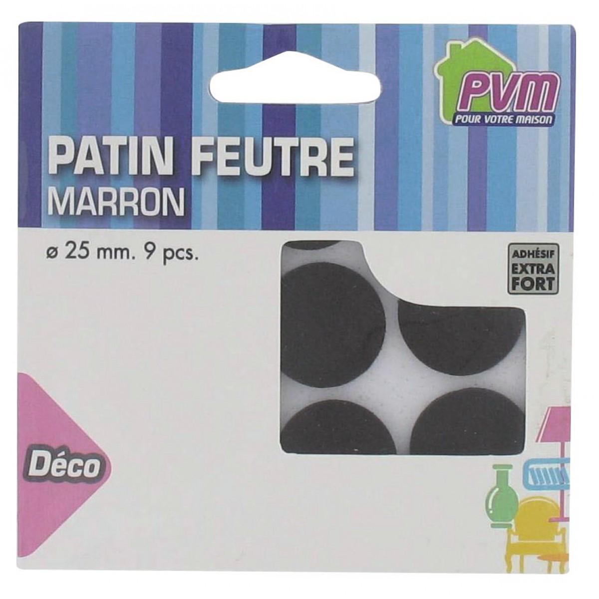 Patin feutre marron adhésif PVM - Diamètre 25 mm - Vendu par 9