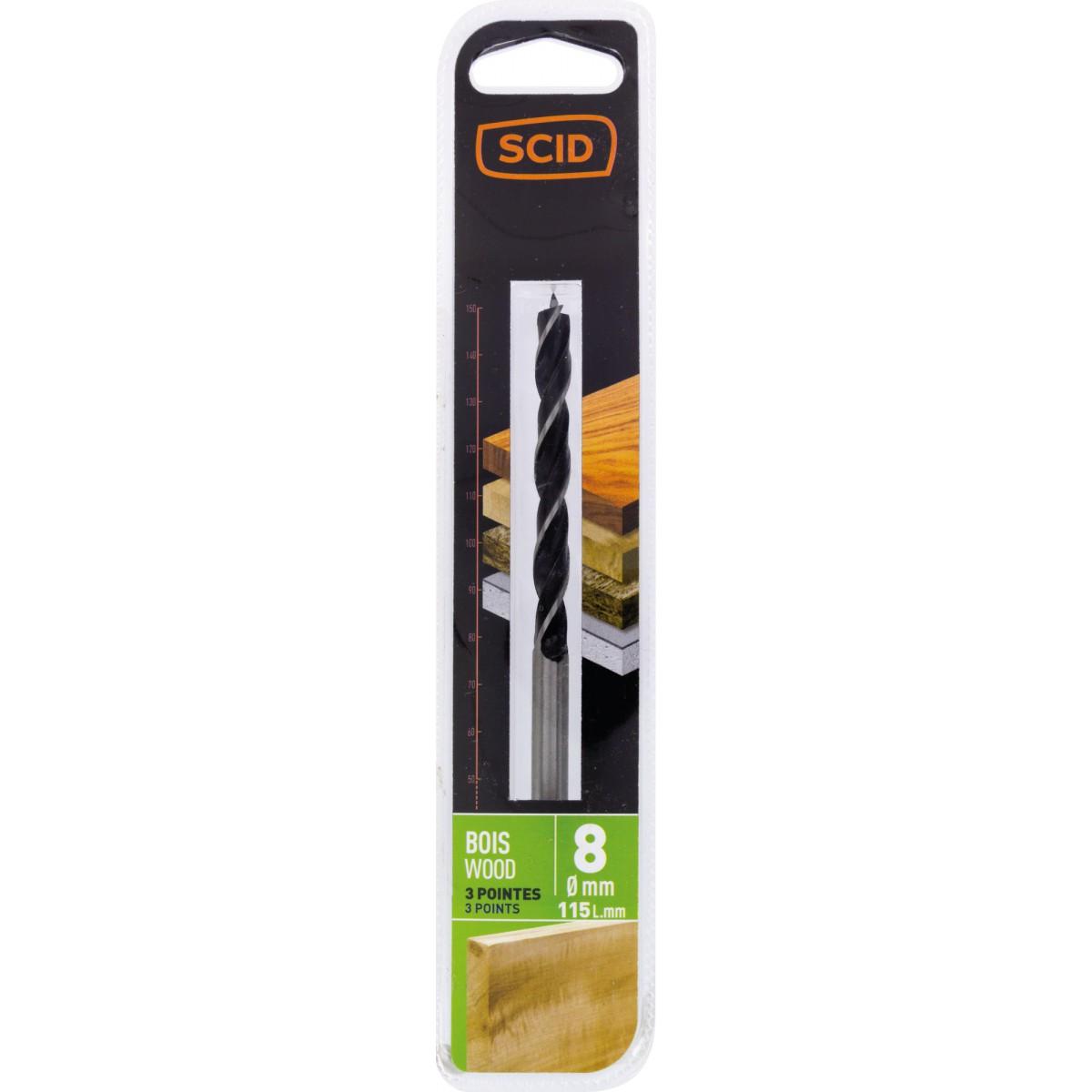 Mèche à bois 3 pointes SCID - Longueur 115 mm - Diamètre 8 mm