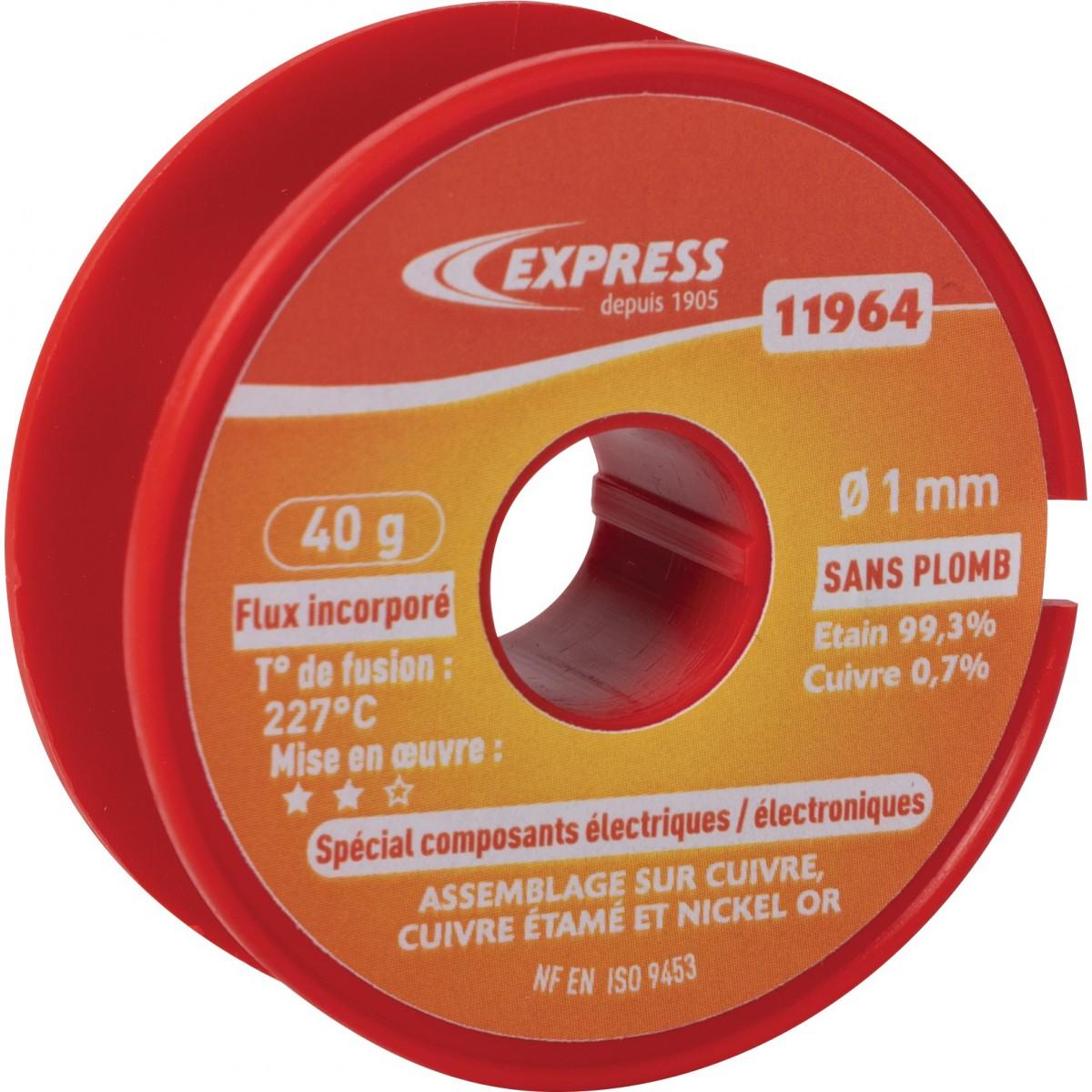 Soudure étain bobine Express - Spécial composants électriques - 40 g