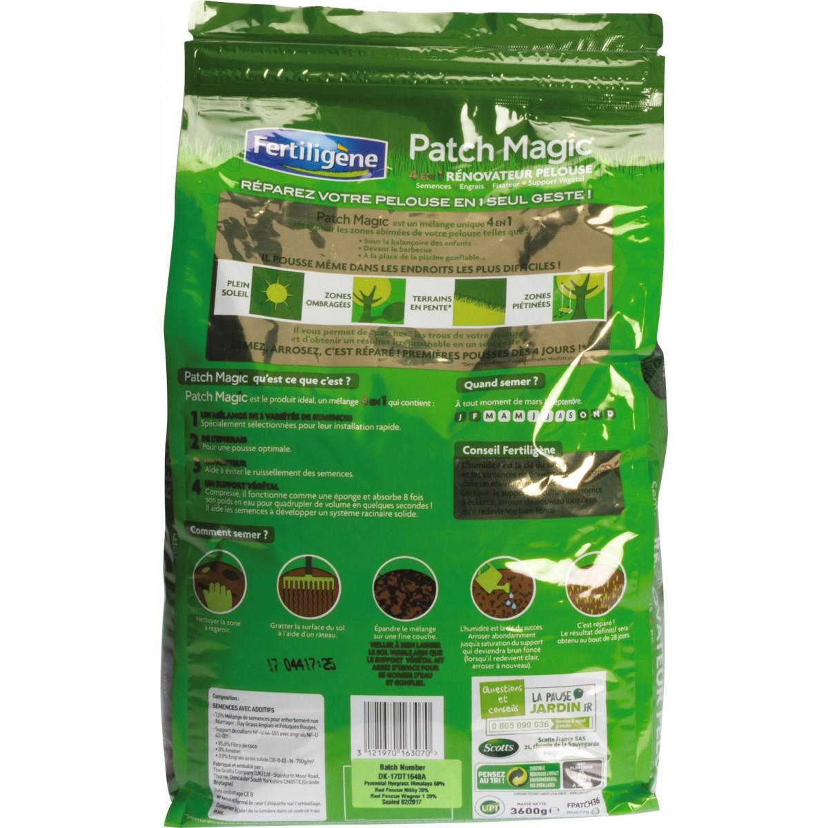 Patch Magic 4 en 1 rénovateur pelouse Fertiligène - 3,6 kg