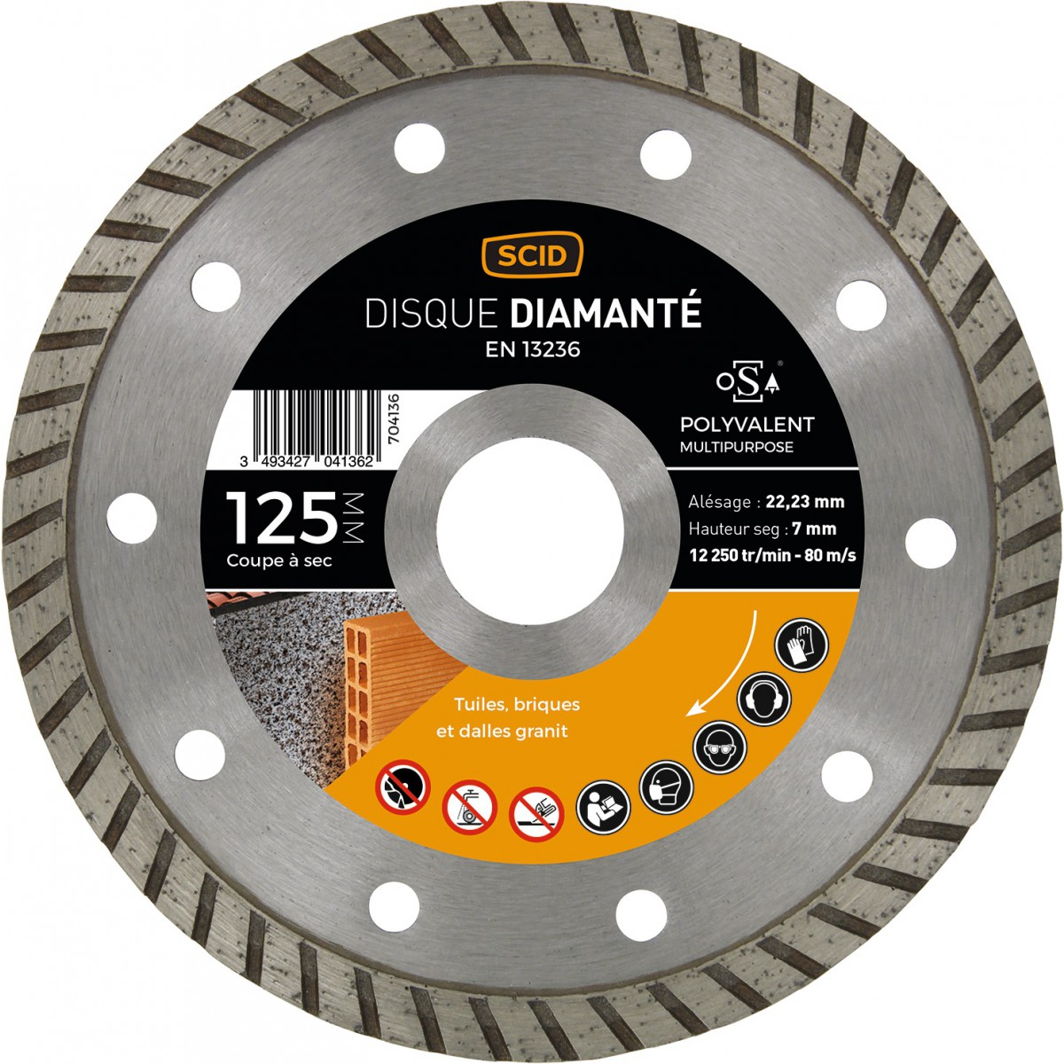 Disque diamanté polyvalent crénelé SCID - Diamètre 125 mm