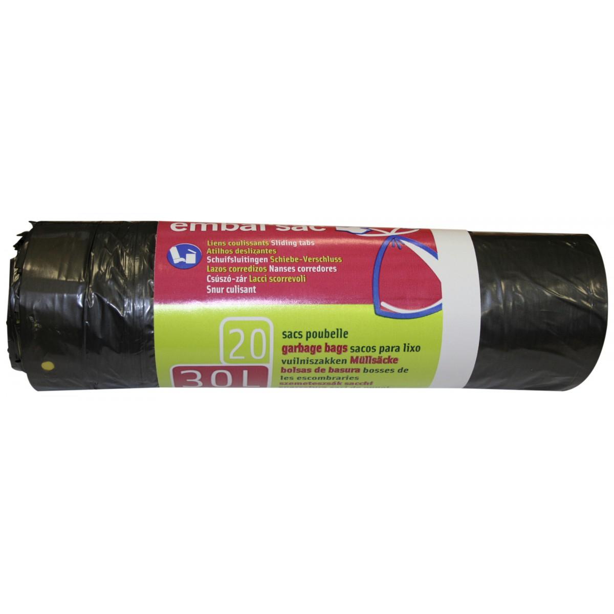 Sac poubelle à lien coulissant Embal'Sac - 30 l - Hauteur 65 cm - Epaisseur 21 microns - 20 sacs