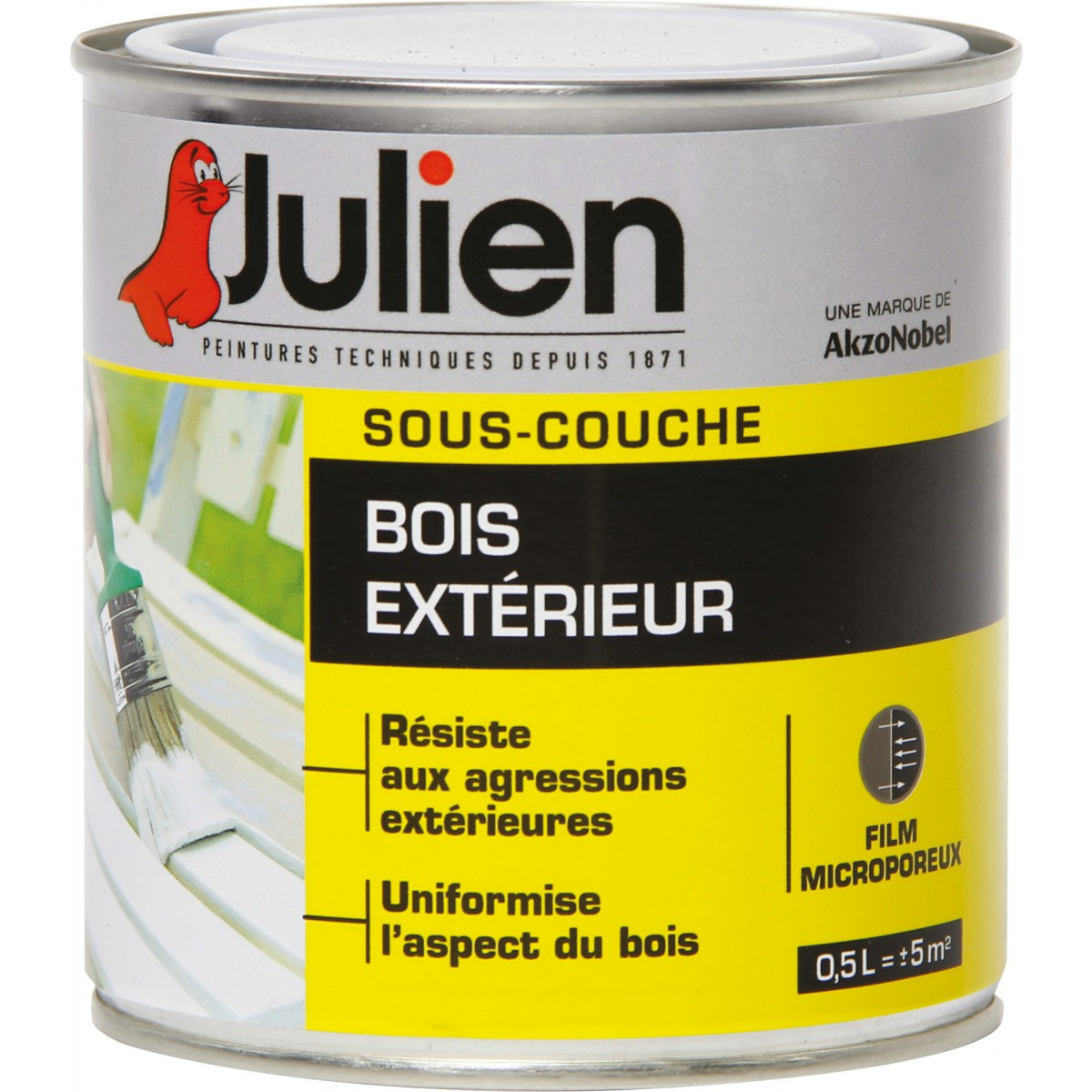 sous couche julien bois ext rieur j3 500 ml de peinture sous couche. Black Bedroom Furniture Sets. Home Design Ideas