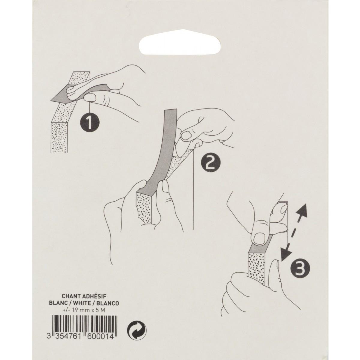 Chant mélaminé auto-adhésif Nordlinger - Blanc - Longueur 5 m - Largeur 19 mm