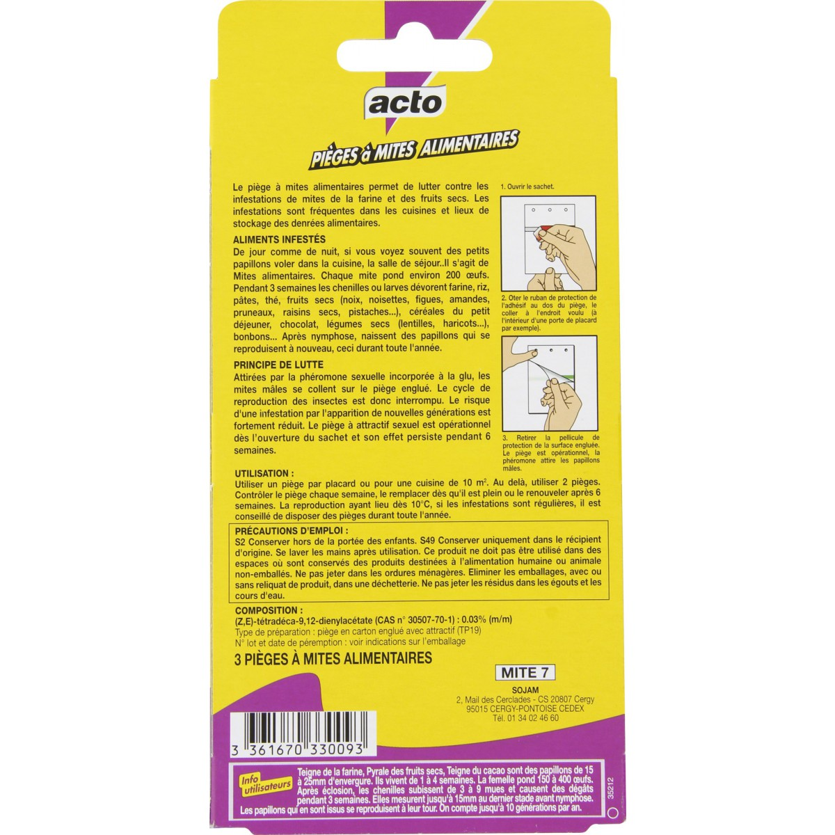 Piège anti-mites alimentaires acto - 3 pièges