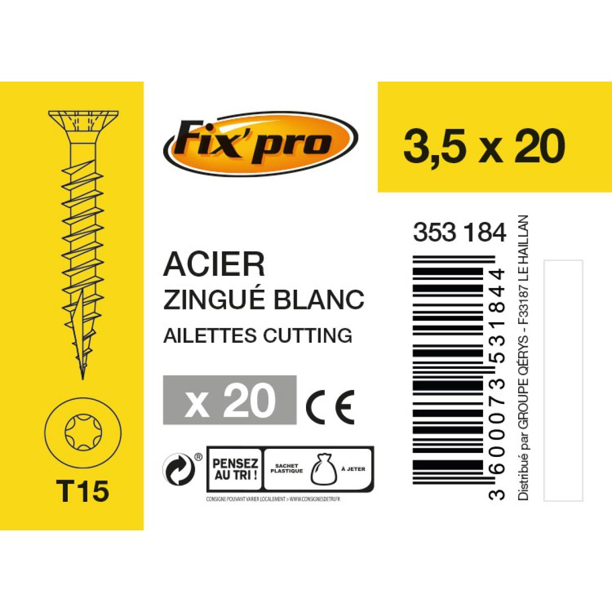 Vis à bois tête fraisée TX - 3,5x20 - 20pces - Fixpro