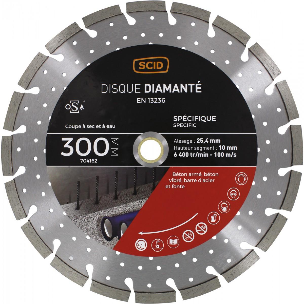 Disque diamanté ventilé béton métal SCID - Diamètre 300 mm