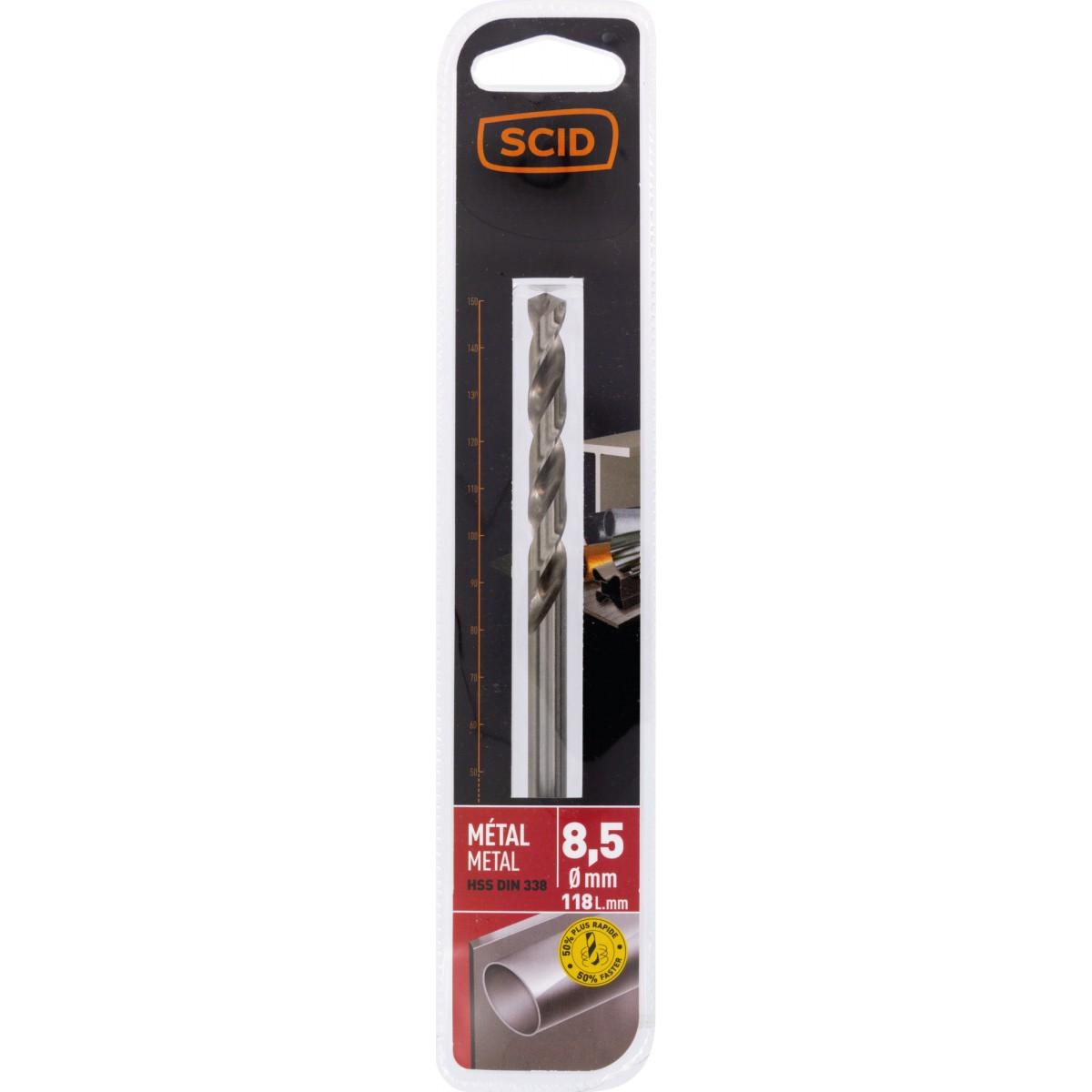 Foret métal HSS din 338 SCID - Longueur 118 mm - Diamètre 8,5 mm - Vendu par 1
