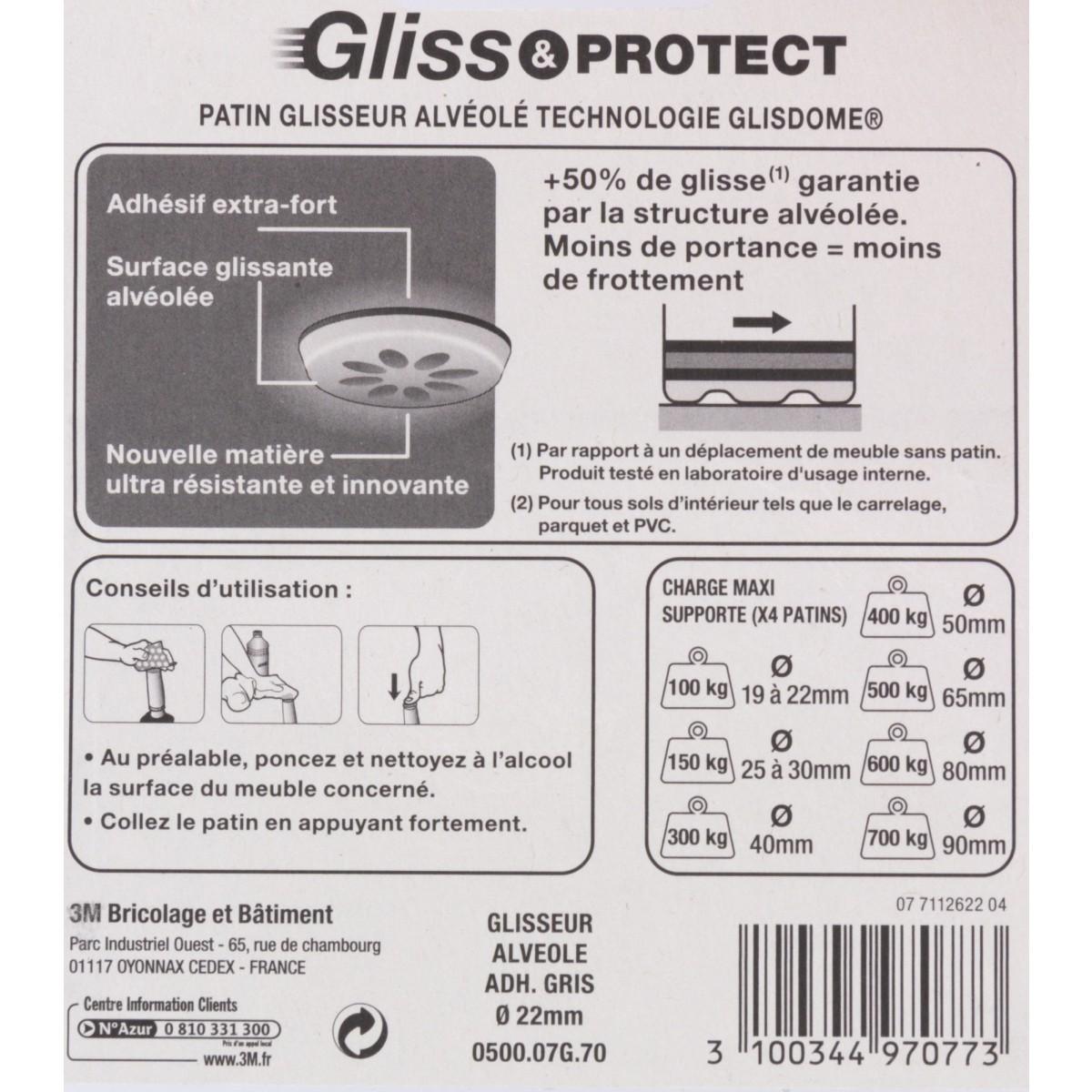 Patin glisseur plastique structure alvéolée 3M - Diamètre 22 mm - Vendu par 8