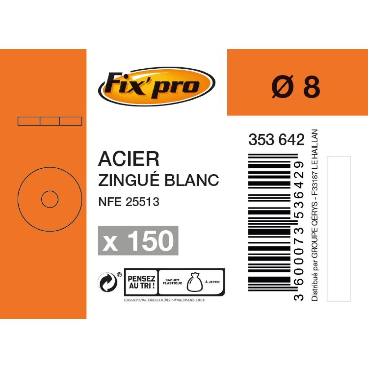 Rondelle carrossier acier zingué - Ø8mm - 150pces - Fixpro