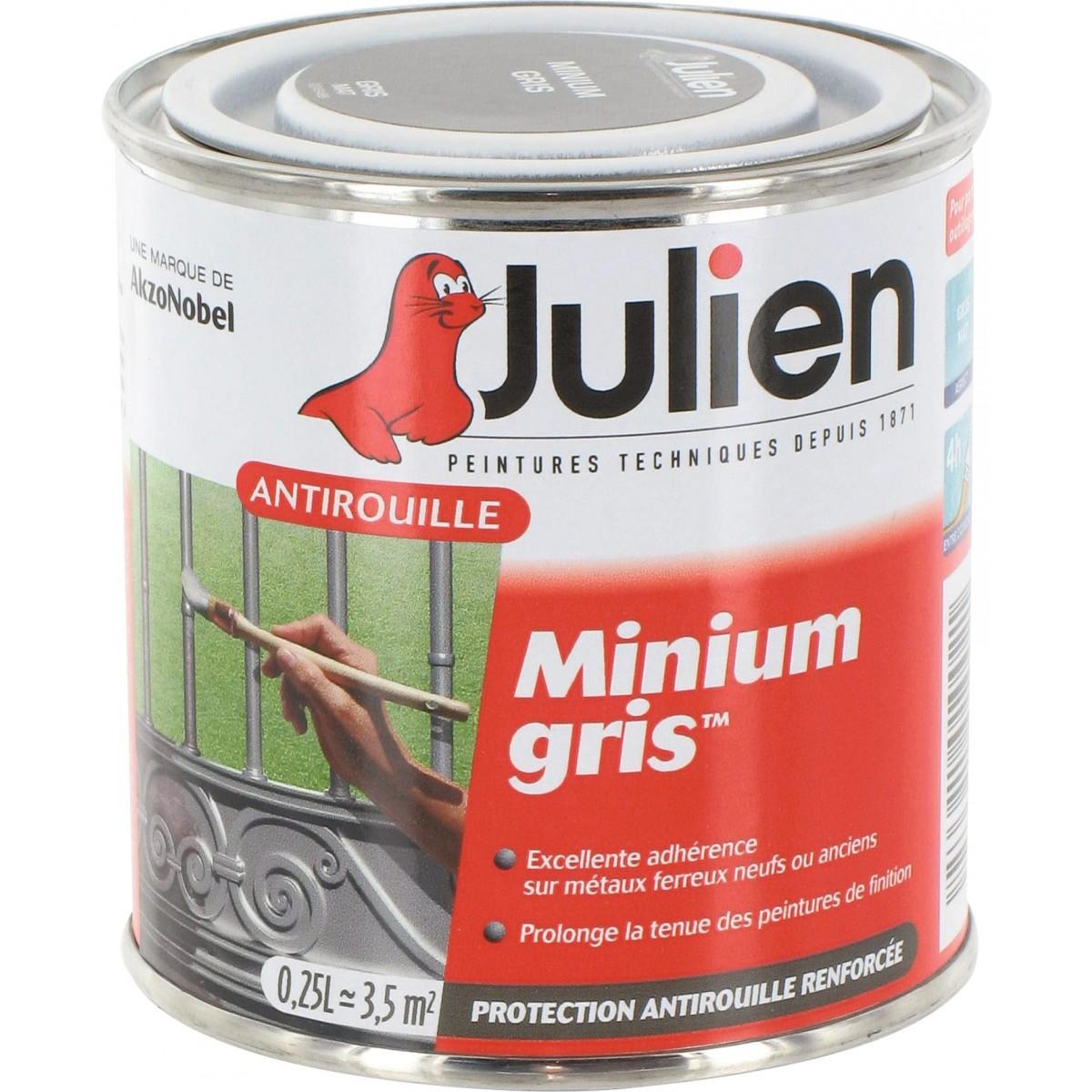 Antirouille minium gris Julien - Boîte 250 ml