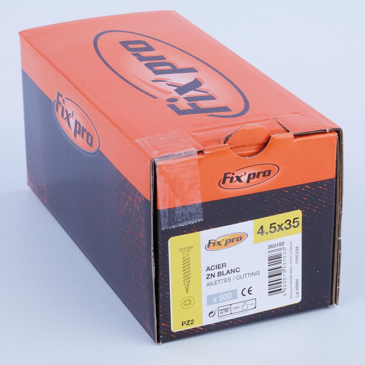 Vis à bois tête fraisée PZ - 4,5x35 - 500pces - Fixpro