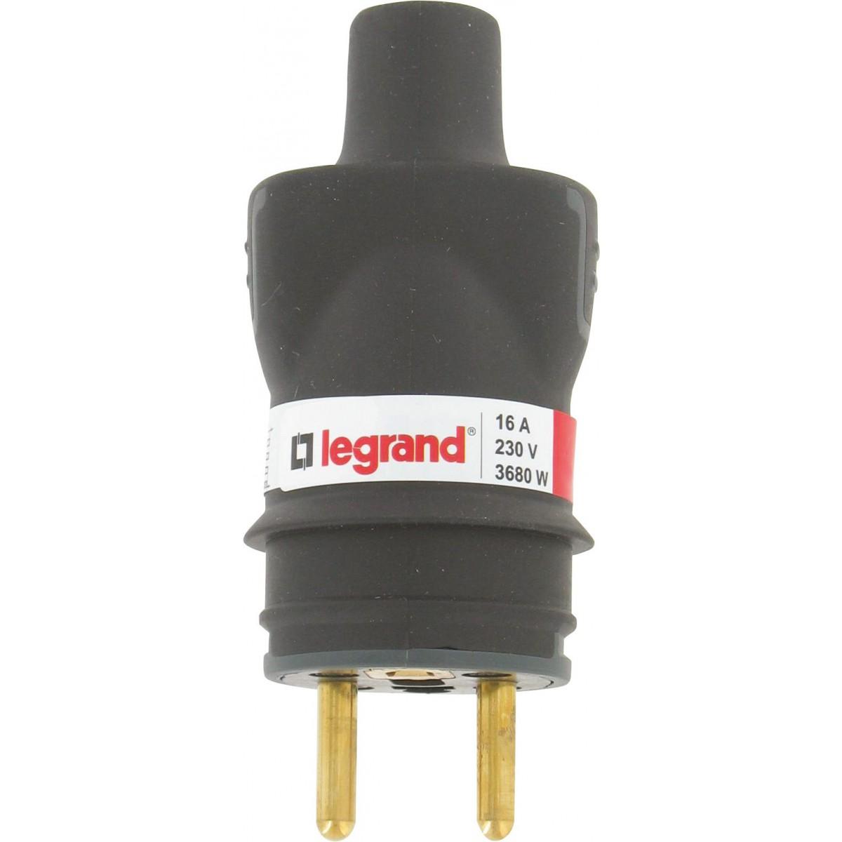 Fiche caoutchouc noire 2P+T 16 A Legrand - Connexion à vis - Sortie droite Mâle