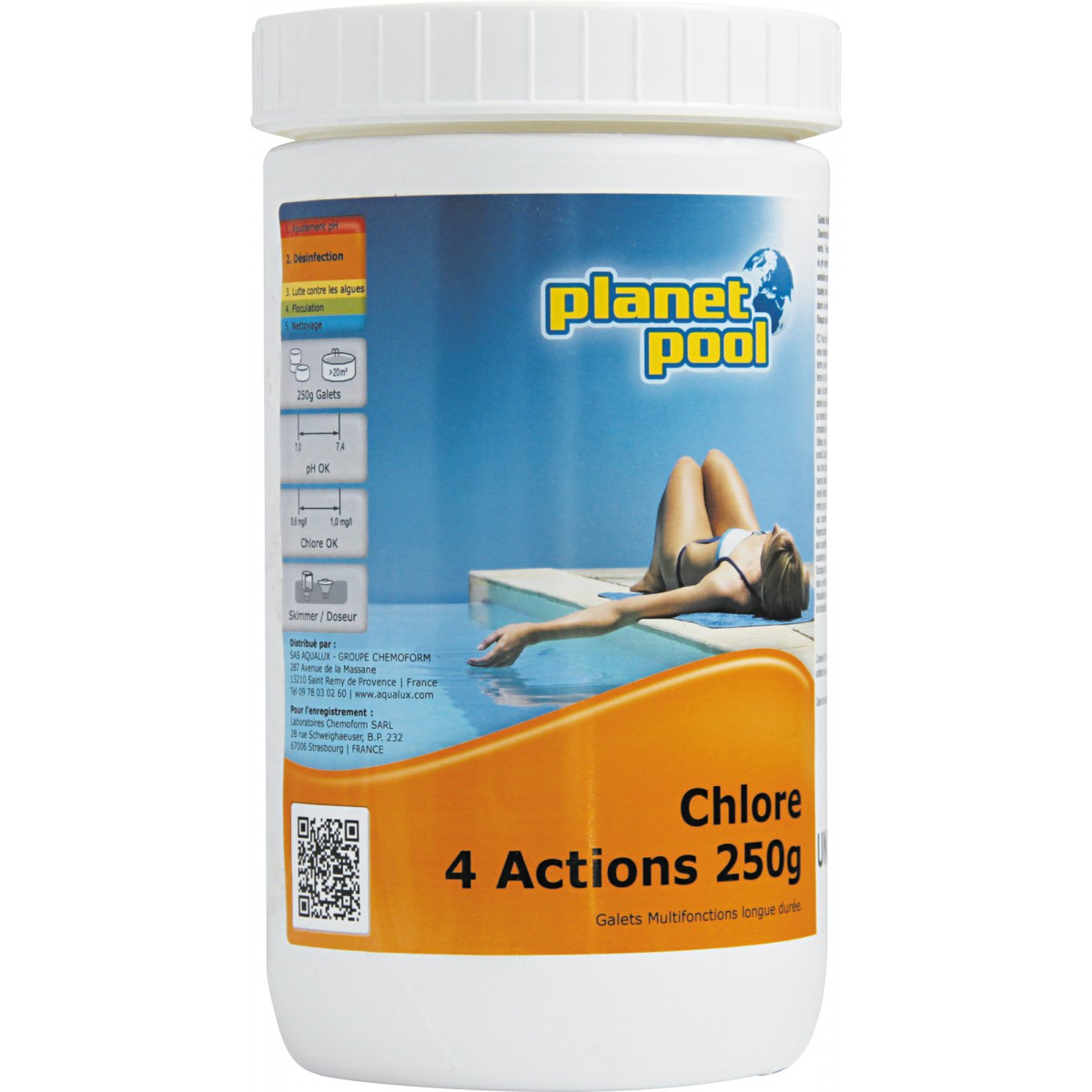 Chlore multi-action Planet Pool - Galets 250 g - 1 kg