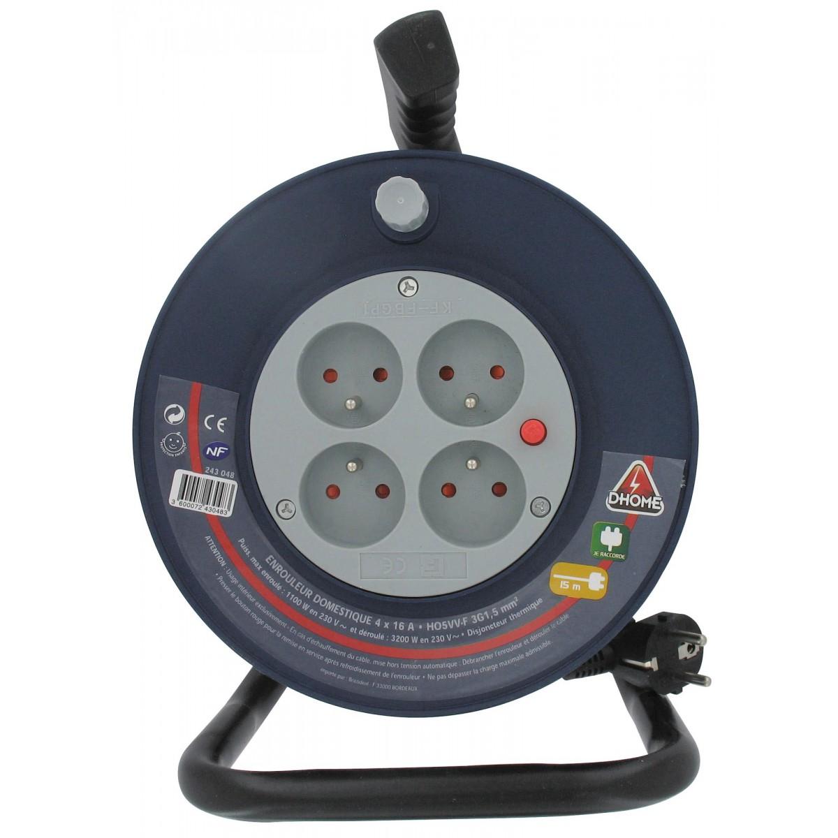 Enrouleur Baby Dhome - H05 VV-F 3G 1,5 mm² - Longueur 15 m