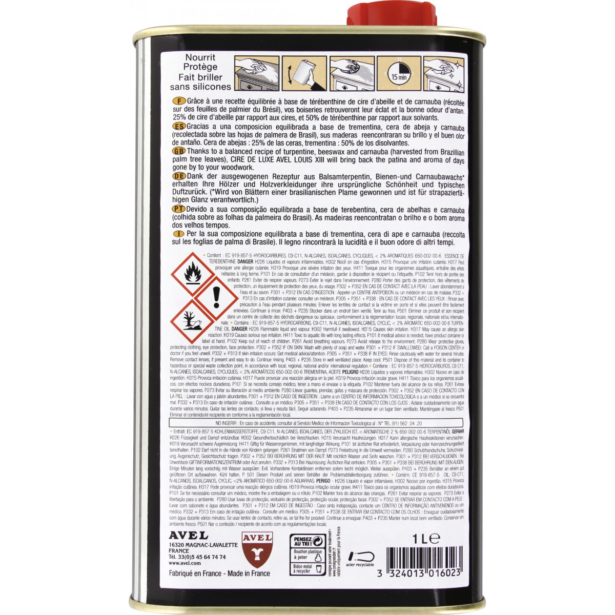 Cire liquide luxe Avel Louis XIII - Incolore - Bidon 1 l