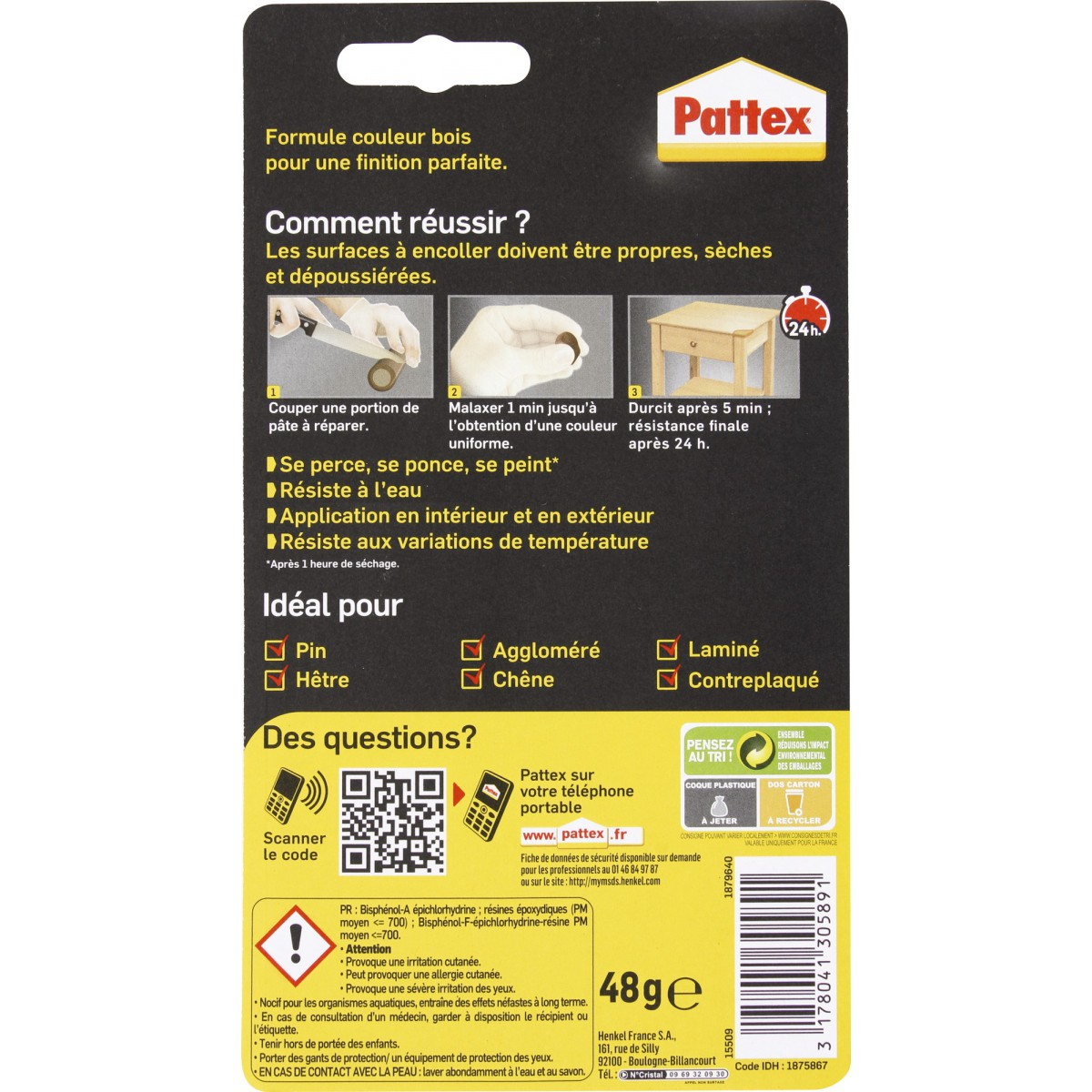 Repair Express bois Pattex - Tube 48 g