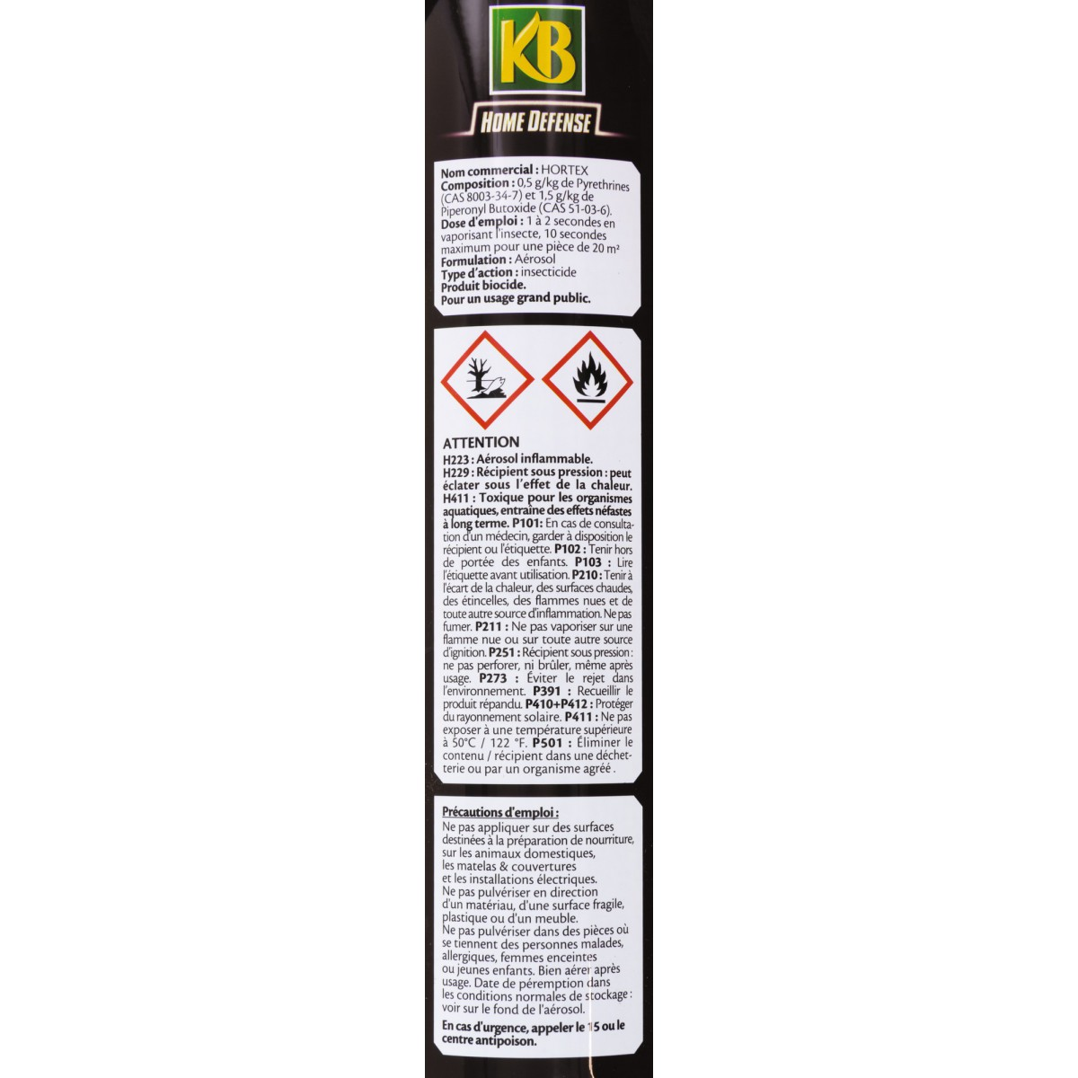 Insecticide insectes volants KB Home Defense - Aérosol 400 ml