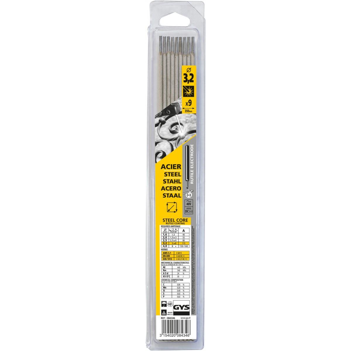 Electrode traditionnelle acier rutile Gys - Diamètre 3,2 mm - Vendu par 9