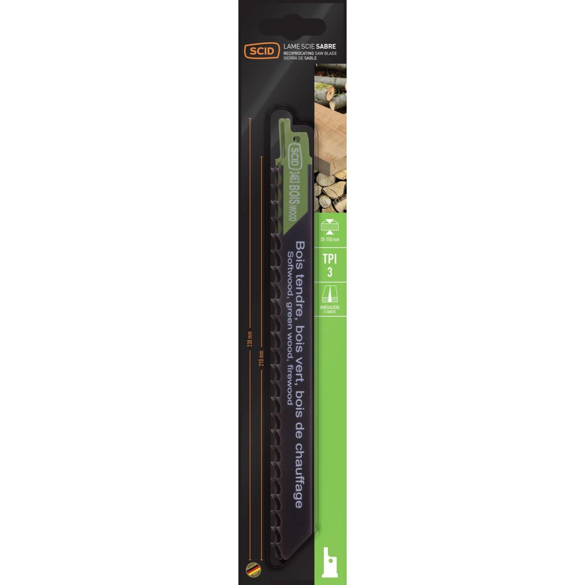 Lame de scie sabre classique bois SCID - Epaisseur 1,2 mm - Longueur 230 mm - Vendu par 2