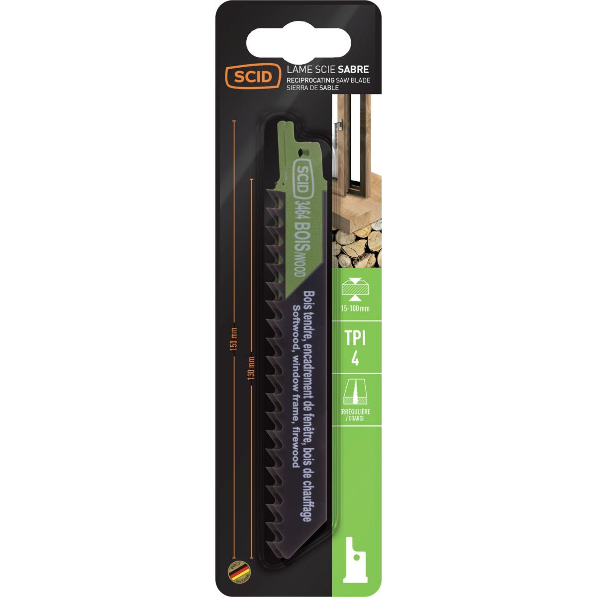 Lame de scie sabre classique bois SCID - Epaisseur 1,2 mm - Longueur 150 mm - Vendu par 2