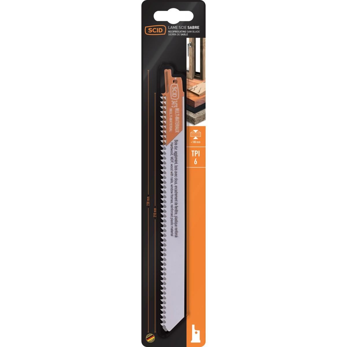 Lame de scie sabre bi-métal bois et plastique SCID - Longueur 230 mm - Vendu par 2