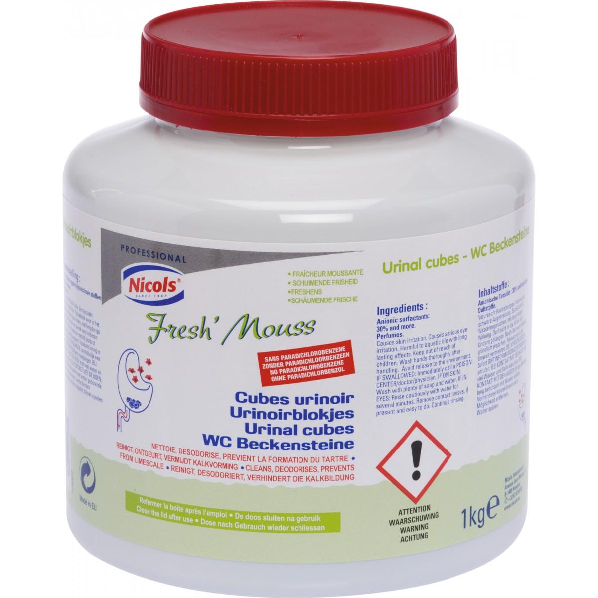 Cube urinoir fresh'mouss Nicols - Pot 1 kg - Bloc 30 g