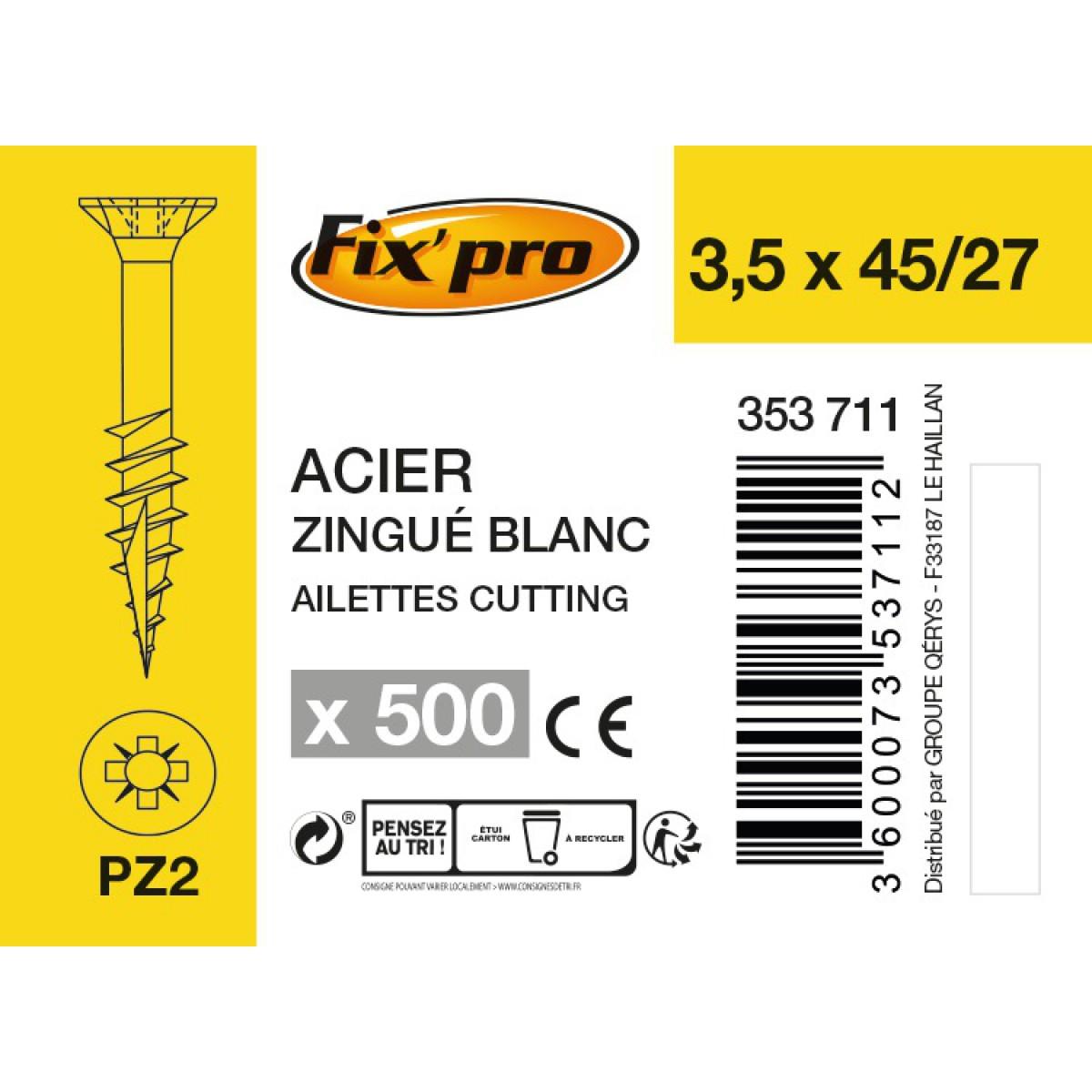 Vis à bois tête fraisée PZ - 3,5x45/27 - 500pces - Fixpro