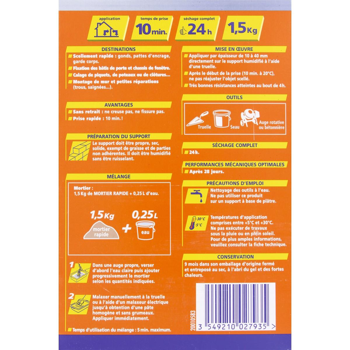 Mortier rapide Bostik - Boîte carton 1,5 kg