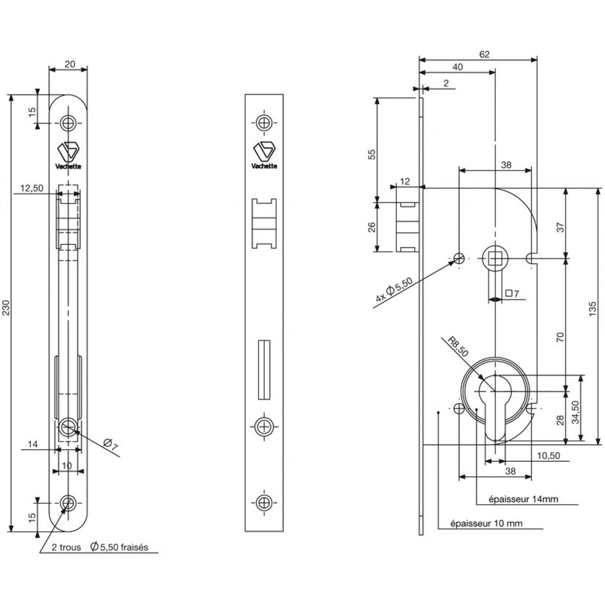 Serrure réversible pêne 1/2 tour sans cylindre série D20 Vachette - Bouts carrés