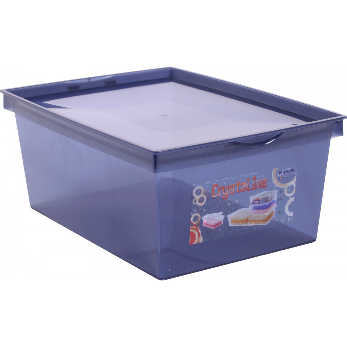 Boîte de rangement plastique Crystaline Eda - 10 l - Bleu profond