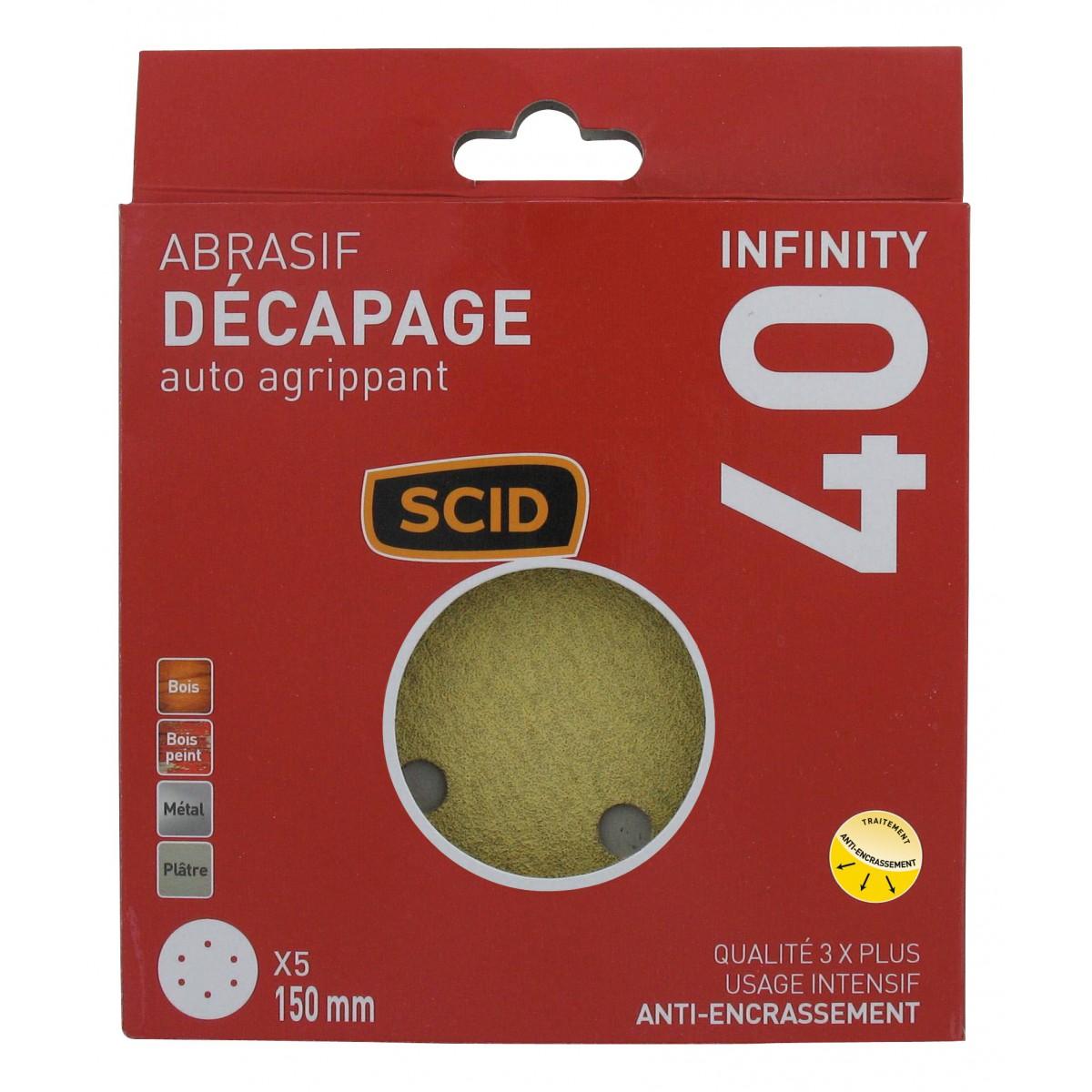 Disque auto-agrippant diamètre 150 mm 6 trous SCID - Grain 40 - Diamètre 150 mm - Vendu par 5